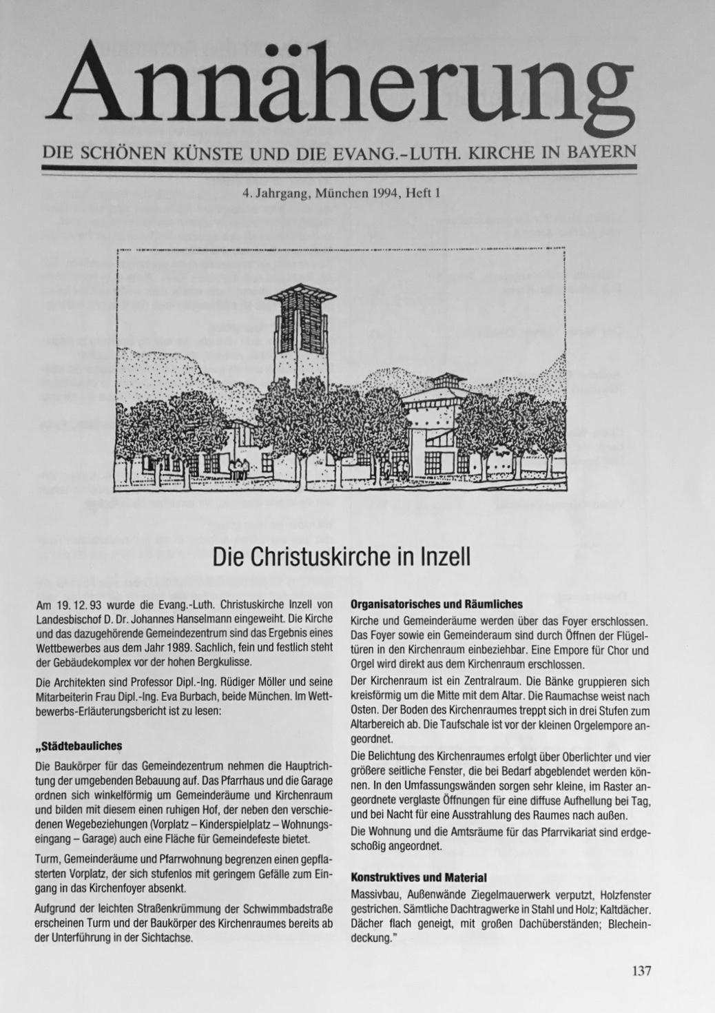 Annäherung - Die schönen Künste und die Evang.-Luth. Kirche in Bayern Heft 1 1994